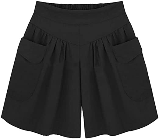 Cromoncent Womens Summer Casual Short Pants High Rise Straight Wide Leg Shorts