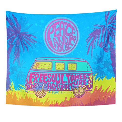 TOMPOP Tapestry Hippie Vintage Car Mini Van Ornamental Love and Music with Hand Written Fonts Doodle Hippy Color Retro Home Decor Wall Hanging for Living Room Bedroom Dorm 50x60 Inches (Hippy Van)