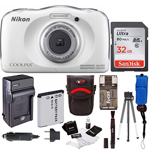 Nikon Coolpix W100 Rugged Digital Camera w/ Memory Card & Accessory Bundle (32 GB, White) by Nikon