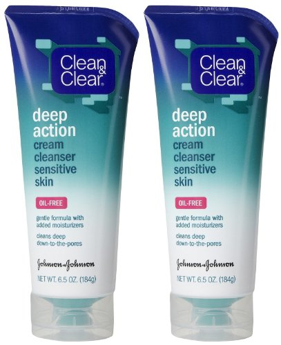 Clean & Clear Deep Action Cream Cleanser Sensitive Skin, 6.5