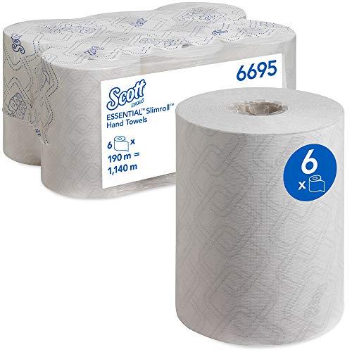 Scott 6695 Essential Papieren Handdoekrollen Voor Dispenser, Slimroll, Airflex-Technologie, 1-Laags, 6 x 190 m, Wit