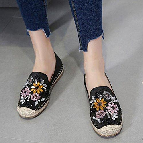 de instructores en Deslizamiento las zapatos planos de GAOLIX que caminan los Zapatos ocasional Bombas de del clásicos albaricoque los Black negro señoras Diamante Zapatos señoras las del ante de Rhinestone vBwRW
