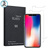 iPhone X Screen Protector Glass (3-Pack), iPhone X Tempered Glass Screen Protector Tray for Apple iPhone X / iPhone 10