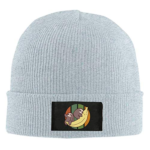Adult Unisex Sloth Ride A Banana Dancing Beanies Gray ()