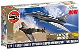 Airfix A50040 1:72 Scale Then and Now - Eurofighter Typhoon/ Supermarine Spitfire Twin Set Gift Set inc Paints Glue and Brushes