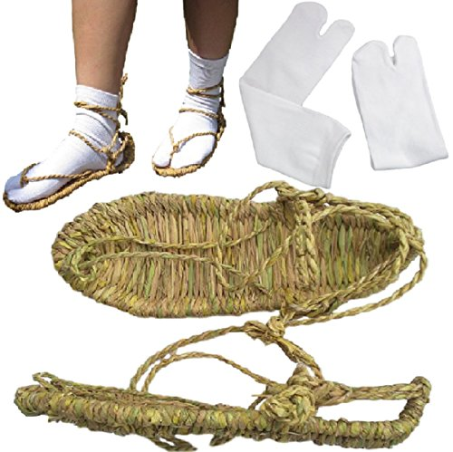 [SPJ: Waraji Japanese Straw Sandals and Split Toe Socks Bleach Anime Cosplay] (Indian Policeman Costume)