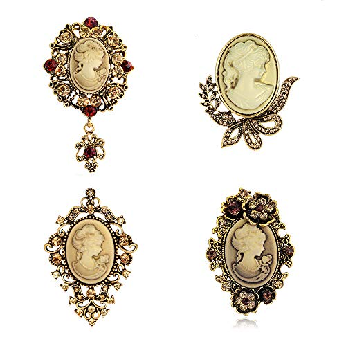 Ezing 4Pcs Brooch Lot with Princess Queen Beauty Head Frame Crystal Cameo Brooches Pins Set