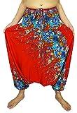 Design By Jingle Women's Smocked Waist Aladdin Harem Hippie Pants Jumpsuit (F- red)