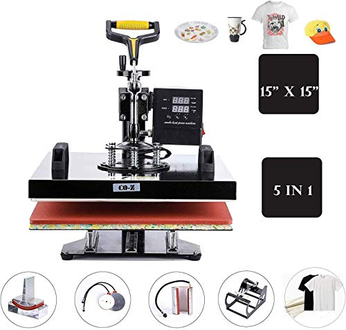 "CO-Z 5 in 1 Pro Heat Press Machine 15"" x 15"" Intelligent Audible Alarm Transfer Sublimation Printer Swing Away Multifunctional for T-Shirt/Hat/Mug/Plate/Cap/Cup"