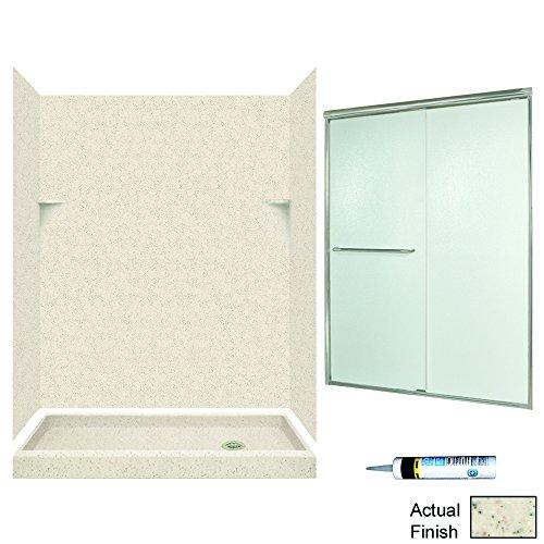 Alcove Shower Kit (Swanstone SSP326R050-M58570NR Retro-Fit Alcove Shower Kit 60-Inch x 32-Inch x 72in Right-Hand with Frameless Nickel Door and Rain Glass, Tahiti Desert)