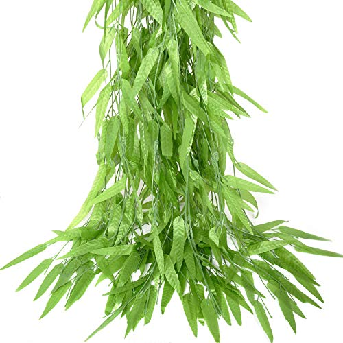 Artificial Plants Flowers 5pcs-31.2ft Fake Flower Wisteria Ivy Vine Faux Plastic Silk Green Leaves Hanging Flowers Vine Garland for Wedding Home Kitchen Office Wall Outside Party Decor (Yellow)