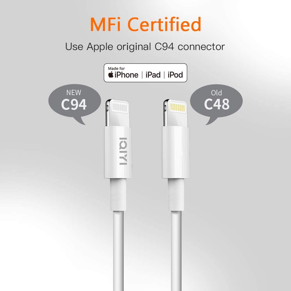 3.3ft, Blanc IQIYI PD C/âble Lightning MFi Certified C/âble USB C vers Lightning Charge Rapide Power Delivery pour Phone X//XS//XR//XS Max//8//8 Plus,