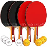 Nibiru Sport Ping Pong Paddle Set of 4 - Table Tennis Rackets, 8 Balls, Storage Case - Pingpong Paddles & Game Accessories