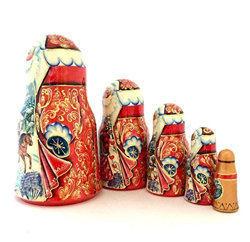 Santa Russian Nesting doll Hand crved Hand painted 5 piece matryoshka set by BuyRussianGifts (Image #3)