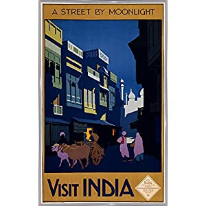 """India-VINAPP122814 Framed Print 24""""x14.75"""" by Vintage Apple Collection in a White Metal Frame"""