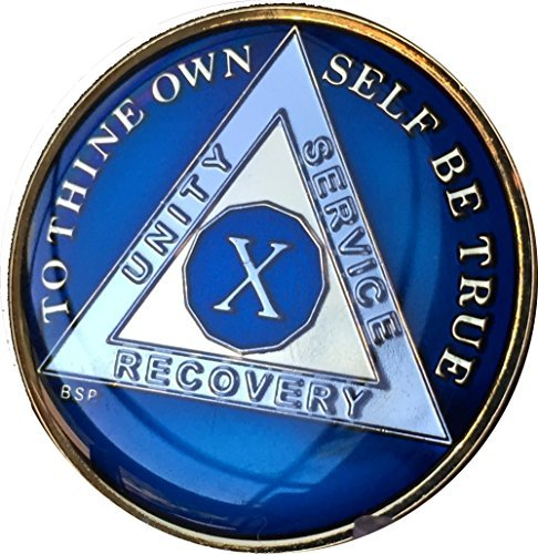10 Year Midnight Blue AA Alcoholics Anonymous Medallion Chip Tri Plate Gold & Nickel Plated Serenity Prayer ()