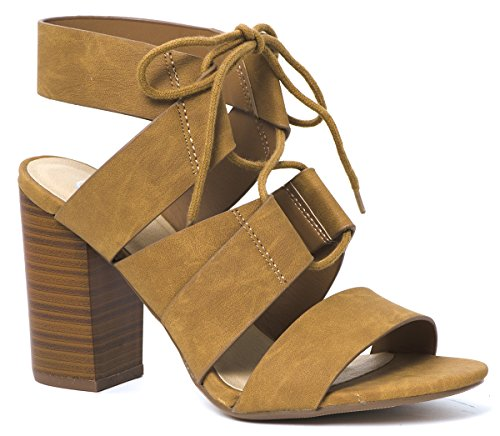 LUSTHAVE Women's Tiki Lace Up Open Toe Stacked High Heel Sandals by Tan (Tan Leather High Heel)