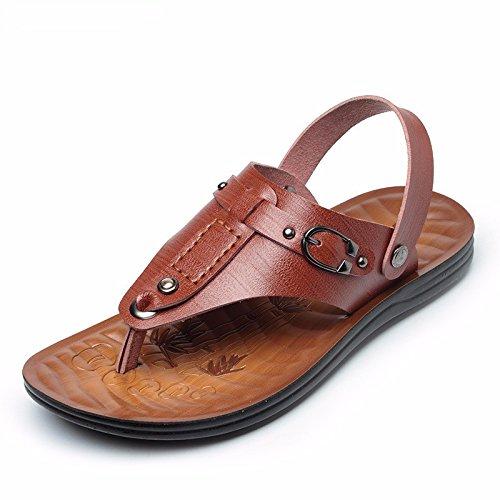 estate Il nuovo impermeabile Doppio uso vera pelle sandali Uomini tendenza Uomini Spiaggia scarpa sandali Uomini ,Marrone ,US=10,UK=9.5,EU=44,CN=46