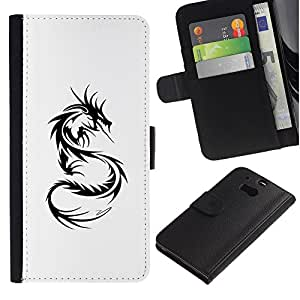 Paccase / Billetera de Cuero Caso del tirón Titular de la tarjeta Carcasa Funda para - Dragon Tattoo Black White Art - HTC One M8