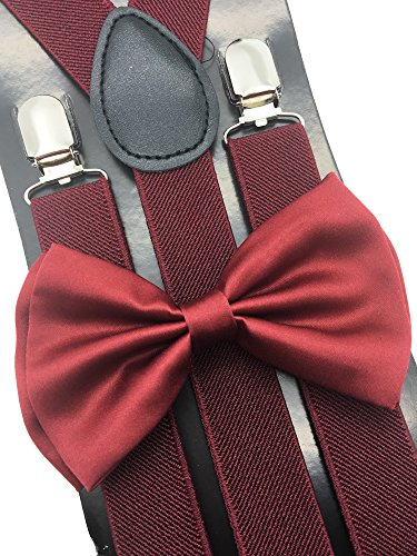 4everStore Unisex Bow Tie & Suspender Sets, Burgundy