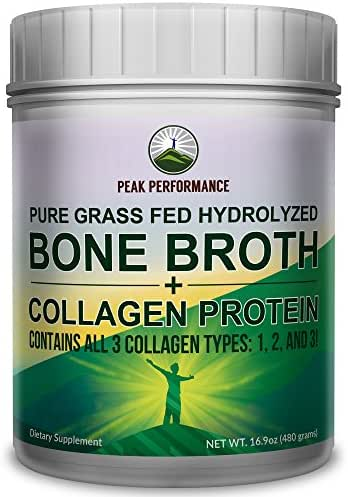 Hydrolyzed Bone Broth and Collagen Protein Peptides Powder by Peak Performance - Contains All Collagen Types: 1, 2, and 3. Pure Pasture, Raised Grass Fed, Paleo Friendly, Gluten and Dairy Free