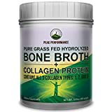 Hydrolyzed Bone Broth + Collagen Protein Peptides Powder by Peak Performance – Contains All 3 Collagen Types: 1, 2, and 3 | Pure Pasture, Raised Grass Fed, Paleo Friendly, Gluten & Dairy Free