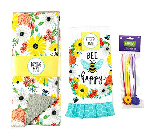 Spring Flower Honey Bee Dish Drying Mat Set: 1 Counter Reversible Mat with 1 Matching Cotton Hand Dish Towel