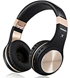 Bluetooth Headphones, Riwbox XBT-80 Foldable Stereo Wireless Bluetooth Headphones Over Ear with Microphone and Volume Control, Wireless and Wired Headset for PC/ Cell Phones/ TV/ Ipad (Black Gold)