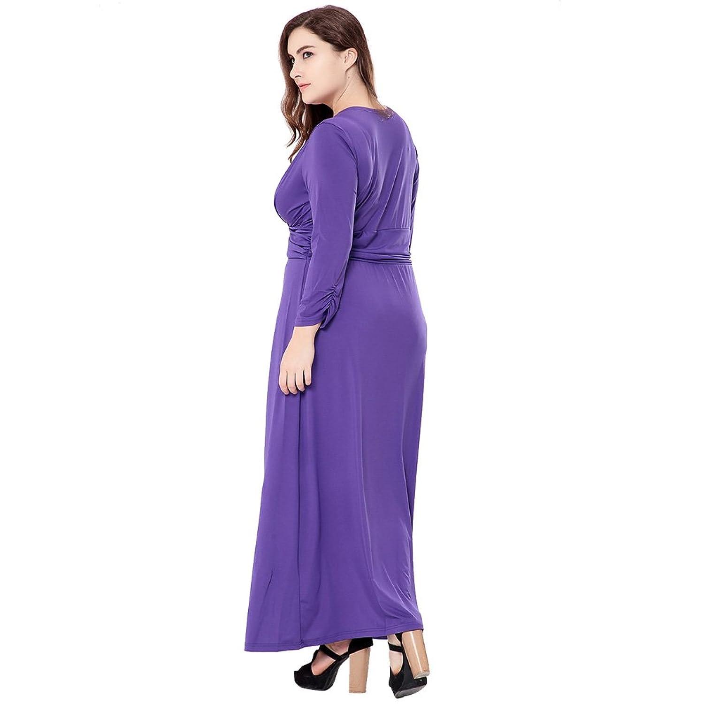 Vestido Femenil Exlura Vestido Largo para Tallas Grandes con Cuello a V Vestido para Fiestas: Amazon.es: Ropa y accesorios