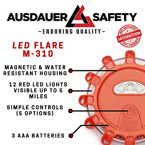 (3 LED Kit + Safety Triangle) Red LED Road Flares, Emergency Disc Roadside Safety Light Flashing Road Beacon for Auto Car Truck. by AUSDAUER Safety … (Bonus Safety Triangle) by AUSDAUER SAFETY (Image #1)