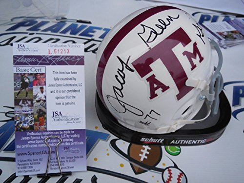 Jacob Green Signed Texas A&M Aggies Throwback Striped Mini Helmet JSA COA