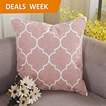 Home Brilliant Decorative Pillowcase Embroidery Cushion Cover for Chair, Moroccan Quatrefoil Waves, 18x18, Blush Pink