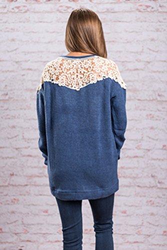 ZKOO Mujer Sueter de Cuello Redondo Jersey de Largo Suelto Top Blusas de Punto Manga Larga Sweater Camiseta de Basica Azul