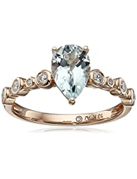 10k Pink Gold Aqua Pear Shape with Diamond Accept Ring, Size 7