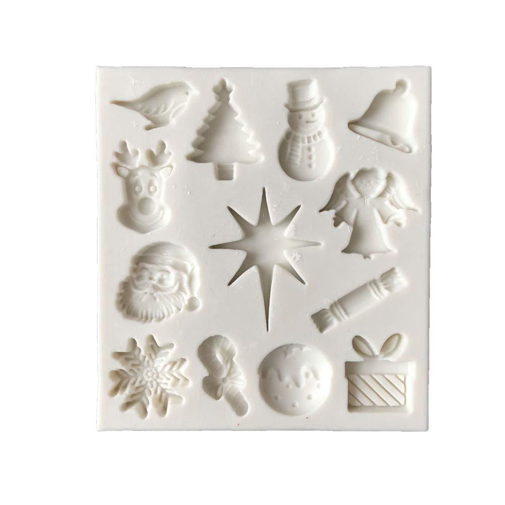 SIridescentZB DIY Stampo in silicone bello stile natalizio biscotto cioccolato fondente strumento di cottura Slri