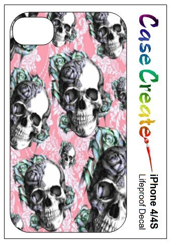 Floral Skulls Vintage Decorative Sticker Decal for your iPhone 4 4S Lifeproof Case