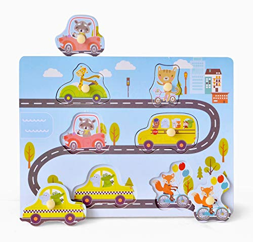 Wood Peg Puzzle, Vehicle & Railway Road Wooden Shape Puzzle, Full-Color Pictures Baby Puzzles, Jumbo Knob Peg Board Jigsaw Infants Puzzles for Toddlers 1,2,3,4 Years Old, 6 Pieces