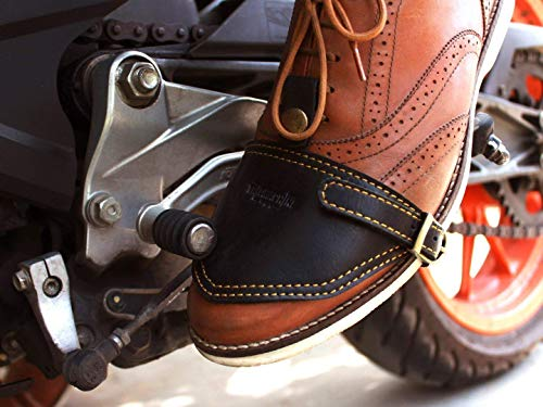 Trip Machine Company Leather Shoe Protector/Guard/Cover/Wrap Black (Motorcycle Shoe Protector)