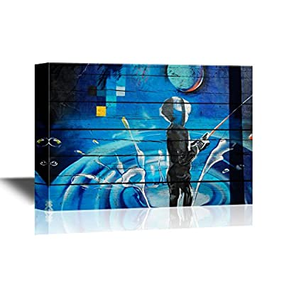 Canvas Wall Art - Graffiti Featuring a Boy Fishing Under The Moon - Gallery Wrap Modern Home Art | Ready to Hang - 16x24 inches