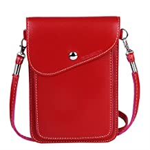 """Summer Popular Universal Cross-body Phone Case, Bosam Girls Clutch Purse Mini Shoulder Bag Design Soft PU Leather Cellphone Carrying Cases for Apple iPhone 6 Plus iPhone 6/5S/5C/4S Samsung Galaxy S3/S4/S5 HTC One M7 M8 Nokia Google Blackberry Mobiles and other Smartphones Under 5.5"""" (e Red)"""