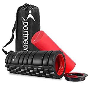 Foam Roller, Sportneer 2-in-1 Foam Rollers with 2 Screw-in Cover Lids, Trigger Point Roller for Deep Tissue Muscle Massage Theraphy, Myofascial Release, Injury Rehab, with Manual and Carrying Bag