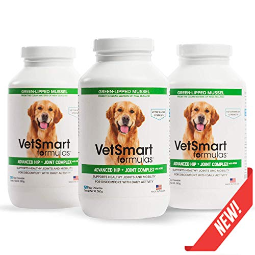 Wheat Relief Packs - VetSmart Formulas Advanced Hip + Joint Complex with Green-lipped Mussel - Veterinarian Strength Dog Joint Pain Relief - 3 Bottle Pack