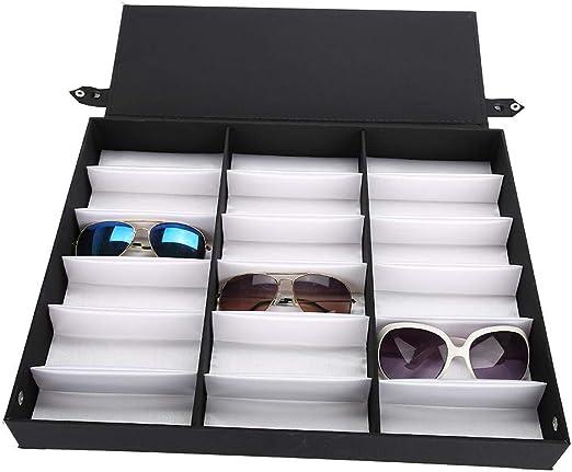 Vitrina de Gafas de Sol de 18 Rejillas, Organizador de la Caja de Almacenamiento de Gafas con Tapa Plegable para Joyas de Relojes de Gafas, Negro/Blanco: Amazon.es: Hogar