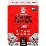 Lakanto Monkfruit Sweetener Packets - 1:1 White Sugar Replacement, Zero Net Carbs, Zero Glycemic, Zero Calorie, Keto, Sweeten