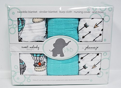 Cheap Baby Swaddle Blanket Pack of 3 in Arrows, Animals, & Solid Turquoise { Away We Go }