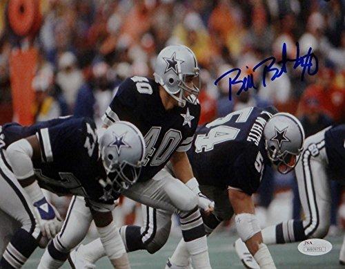 Bill Bates Signed Autograph Dallas Cowboys 8x10 Photo Next To White Photo- JSA Certified