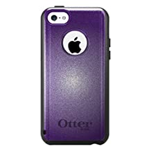 CUSTOM Black OtterBox Commuter Series Case for Apple iPhone 5C - Purple White Gradient Burst