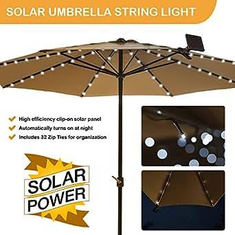Solar Patio Umbrella Light - Cool White