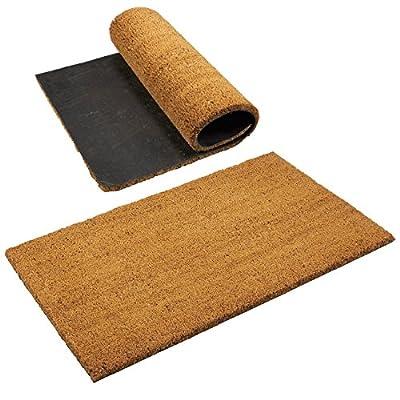 Juvale Outdoor Coir Doormat - 2-Pack Shoe Scraper Front Door Patio Rug, Dirt Debris Mud Trapper, Brown Coir and Rubber, 30 x 18 x 0.6 Inches