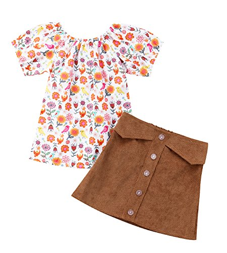 (Infant Baby Girls Floral Tops Tee+Corduroy Button Down Pocket Skirt Outfit Set (Brown, 5-6 Years))
